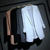 西裝外套 。韓版春夏中長款百搭雪紡小西裝女寬鬆顯瘦白色西服大碼薄外套防 薇薇