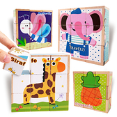 動物昆蟲水果益智六面畫積木 寶寶玩具 益智玩具 可愛積木