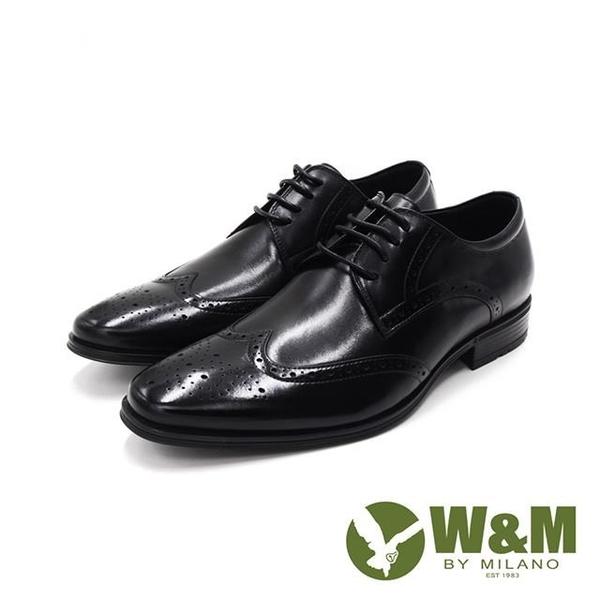 【南紡購物中心】W&M(男)氣墊感 雕花綁帶皮鞋 男鞋-黑(另有棕)
