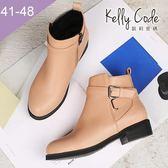 大尺碼女鞋-凱莉密碼-韓版素面簡約皮帶扣飾騎士平底短靴3cm(41-48)【QZ2072】杏色