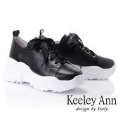 ★2018秋冬★Keeley Ann經典美型~緞面綁帶全真皮休閒鞋(黑色) -Ann系列