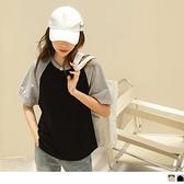 《AB15245-》高含棉圓領拼色造型抽皺短袖上衣 OB嚴選