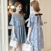 初心 喇叭袖洋裝 【D5450】 童趣 喵喵 短袖 背後 蝴蝶結 洋裝