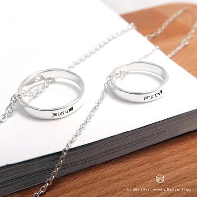 訂製對戒鍊 情侶對戒 4mm平版刻字  英文 文字 姓名 純銀戒指 純銀項鍊
