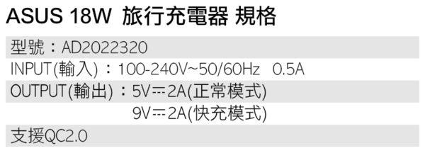 ▼ASUS 9V-2A 18W QC2.0 原廠快速旅充頭/快充/閃充 ZenPad Z170/Z581KL/Z300C/Z300M/Z300CNL/Z301M/Z301MF/Z301MFL/Z301ML