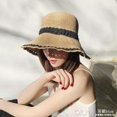 日本防曬UV CUT拉菲草帽女日系可折疊沙灘帽小清新夏天遮陽漁夫帽  深藏blue