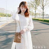 春秋新款小清新V領系帶收腰白色蕾絲長袖連身裙女仙女裙子夏 薔薇時尚