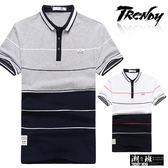 『潮段班』【SD031976】L-XL兩色拼接線條撞色設計短袖POLO杉上衣