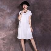 短袖連身裙-圓領純棉大口袋純色女長裙2色73vu21【巴黎精品】