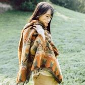 冬季加厚保暖圍巾女秋冬復古民族風西藏旅游超大斗篷披肩兩用披風 韓國時尚週