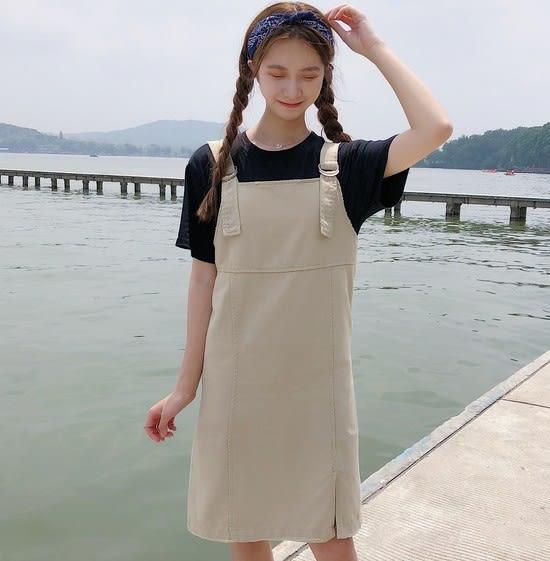 EASON SHOP(GU6320)側開衩黑色吊帶裙女長裙連身裙洋裝寬鬆無袖中長款長版背帶裙韓版卡其色背心裙