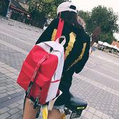 個性撞色韓版後背包 女雙肩書包《印象精品》b1499