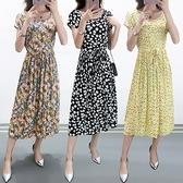棉麻洋裝連身裙~棉綢連衣裙夏裝時尚長裙寬松短袖綿綢碎花裙子2088#MB119B衣時尚