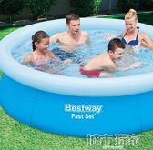游泳池 Bestway充氣成人游泳池兒童家用游泳池 加高大號寶寶戲水池加厚 城市玩家