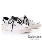 Keeley Ann經典素面 韓版點點鞋帶全真皮休閒鞋(黑色) -Ann系列