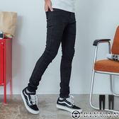 【OBIYUAN】高質感 素面牛仔褲  彈性 合身 單寧長褲 共1色【X918】