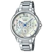 【CASIO】SHEEN 切割玻璃面設計羅馬時刻腕錶-珍珠母貝面(SHE-3056D-7A)