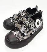 歐美街拍風 爆裂紋 個性休閒鞋 《7+1童鞋》d260銀灰色