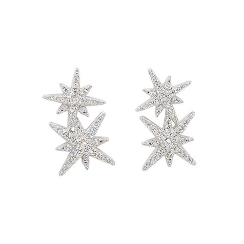 apm MONACO法國精品珠寶 閃耀銀色雙繁星鑲鋯耳針式耳環 AE9784OX