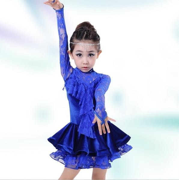 衣童趣♥女童 蕾絲款長袖 下擺蛋糕裙 拉丁舞表演服裝 少女舞蹈演出服 【P009】