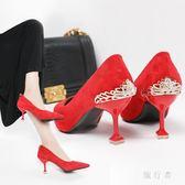 婚鞋性感網紅高跟鞋2018韓版秋季新款女鞋黑色百搭單鞋新娘鞋紅色婚鞋  zr1396『旅行者』