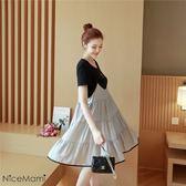 漂亮小媽咪 韓國洋裝 【D1013TH】 吊帶連衣裙 兩件式 娃娃裙 短袖 孕婦連衣裙洋裝 孕婦裝