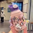 可愛卡通保溫杯女創意ins風小學生便攜帶吸管保溫壺兒童洞洞杯 快速出貨