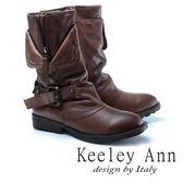 ★2017秋冬★Keeley Ann狂野牛仔~個性環釦拉鍊層次真皮低跟中筒靴(駱駝色)