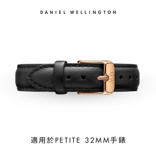 Daniel Wellington DW 錶帶 14mm金扣 爵士黑真皮皮革錶帶