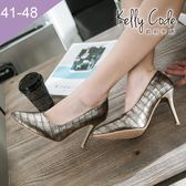 大尺碼女鞋-凱莉密碼-韓版時尚尖頭復古金屬石紋細跟高跟鞋9cm(41-48)【HB262】金色