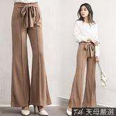 【天母嚴選】綁結造型壓摺後鬆緊彈性磨紗喇叭寬褲(共三色)