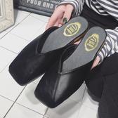 新款春夏季方頭復古奶奶鞋包頭涼拖鞋女鞋韓版半拖平底懶人鞋 居享優品