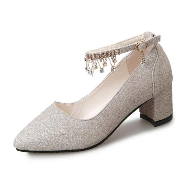 單鞋子女2019春秋款百搭一字帶法式少女高跟鞋粗跟中跟學生晚晚鞋LA219【科炫3c】