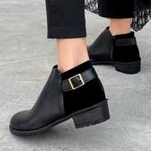 靴子.MIT質感拼接扣帶側拉鍊木紋粗跟短靴.白鳥麗子