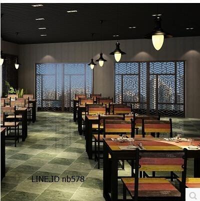 小吃快餐店桌椅飯店食堂餐廳 咖啡廳個性主題餐桌(120*60*74一張桌)