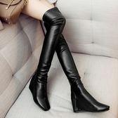 真皮過膝靴-秋冬時尚簡約方頭楔型女長靴73iv22[時尚巴黎]