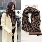 雙十一特價 長圍巾女冬款韓版網紅仿羊絨雙面字母加厚圍脖披肩