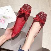 豆豆鞋女2019春季新款婚鞋韓版亮片紅色平底四季單鞋方頭大碼女鞋 宜品