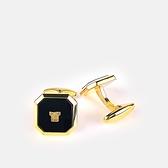 LANVIN經典LOGO金屬方形袖扣(黑金色)880062-12