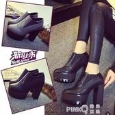 2020春秋季新款黑色10CM粗跟超高跟鞋女士歐美防水台圓頭女單鞋冬  (pink Q時尚女裝)