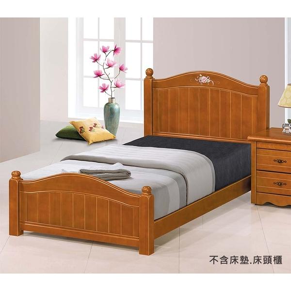 【森可家居】艾倫3.5尺柚木色彩繪床台 8JX369-1 床架