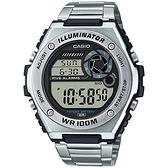 CASIO 卡西歐 10年電力金屬風計時手錶-銀 MWD-100HD-1A