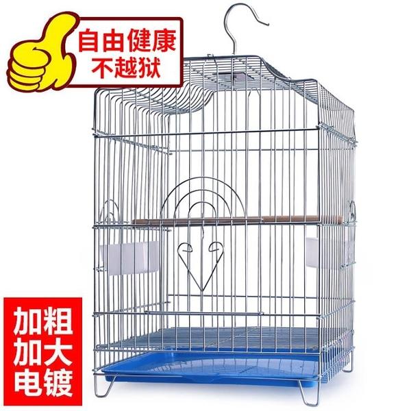 加粗不銹鋼鳥籠大號八哥鸚鵡籠子