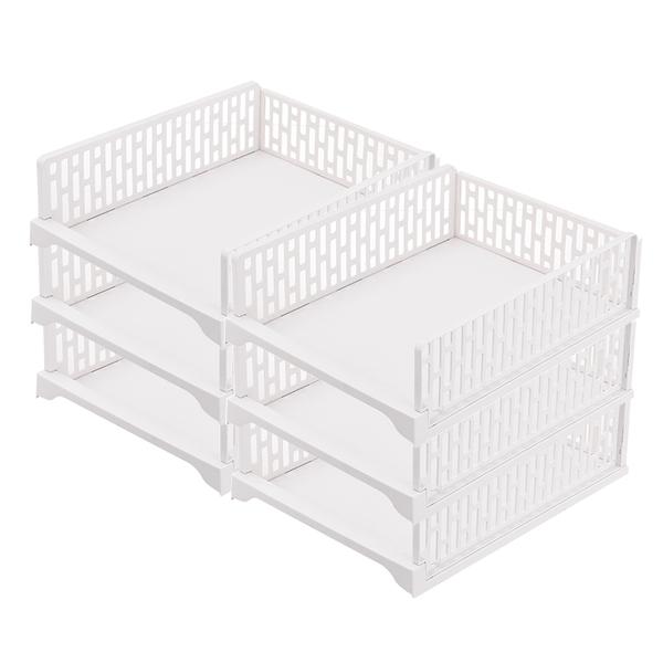 Mr.box【007003-01】日式抽取式可疊衣櫃收納架(加大款矮 6件組)-北歐白