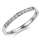《 QBOX 》FASHION 飾品【R10004120】精緻個性細版鑲鑽鈦鋼戒指/戒環(銀色)