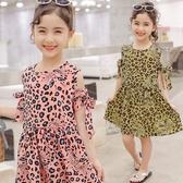 日韓歐美♥韓版 中大女童 夏日豹紋連身裙 露肩洋裝