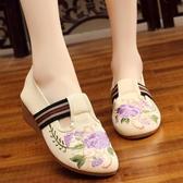 新款民族風老北京刺繡繡花鞋 鬆緊帶一腳蹬單鞋坡跟廣場舞蹈鞋