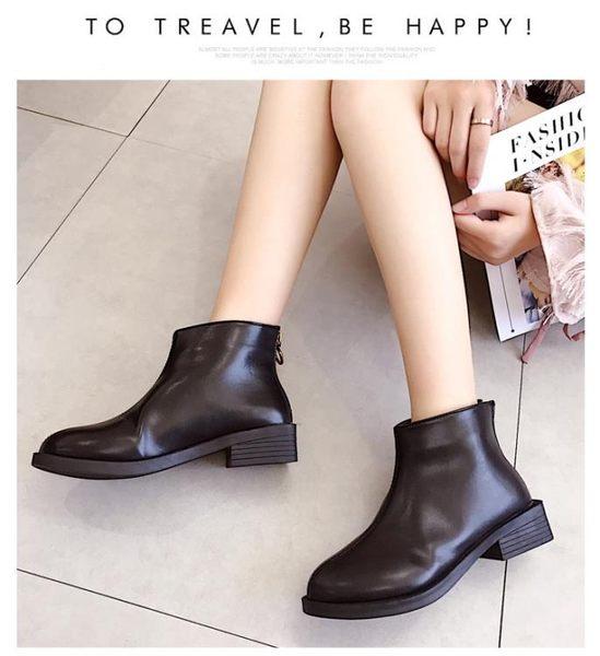店長推薦 小短靴子女春秋2018新款粗跟拉鏈切爾西靴ins馬丁靴女短筒英倫風