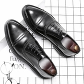 時尚夏季透氣尖頭皮鞋 百搭商務休閒鞋 男鞋【五巷六號】x198