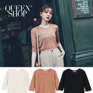 Queen Shop【01096502】簡約素色透膚五分袖針織上衣 三色售*現+預*